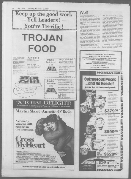 Daily Trojan, Vol. 105, No. 50, November 12, 1987
