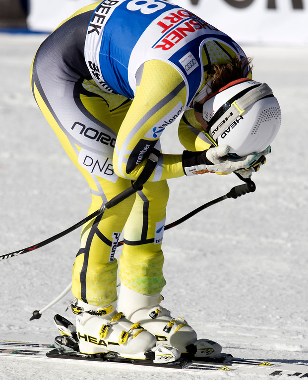 . Kjetil Jansrud of Norway holds his head after finishing sixth in the FIS Alpine World Cup men\'s Super G on December 1, 2012 in Beaver Creek, Colorado.   DON EMMERT/AFP/Getty Images