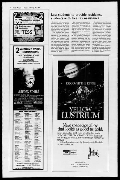 Daily Trojan, Vol. 90, No. 12, February 20, 1981