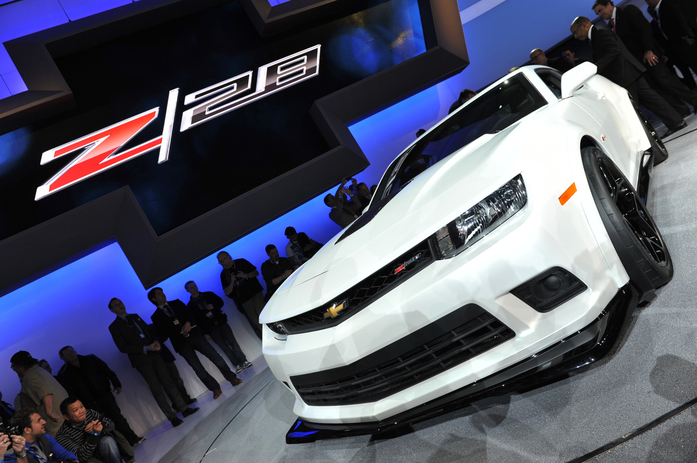 Description of . The new Chevrolet Z28 is unveiled during the first press preview day at the New York International Automobile Show March 27, 2013 in New York.  STAN HONDA/AFP/Getty Images