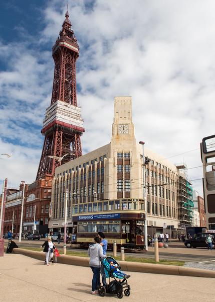 Tram under Blackpool Tower