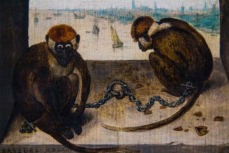 """Schon machen sich die Kulturvernichter mit ihren """"Argumenten"""" zum Affen (""""Zwei angekettete Affen"""", Pieter Bruegel d.Ä., 1562, noch in der Gemäldegalerie)"""