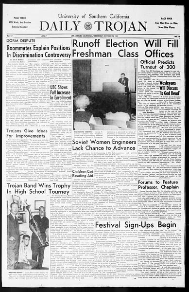 Daily Trojan, Vol. 55, No. 18, October 16, 1963