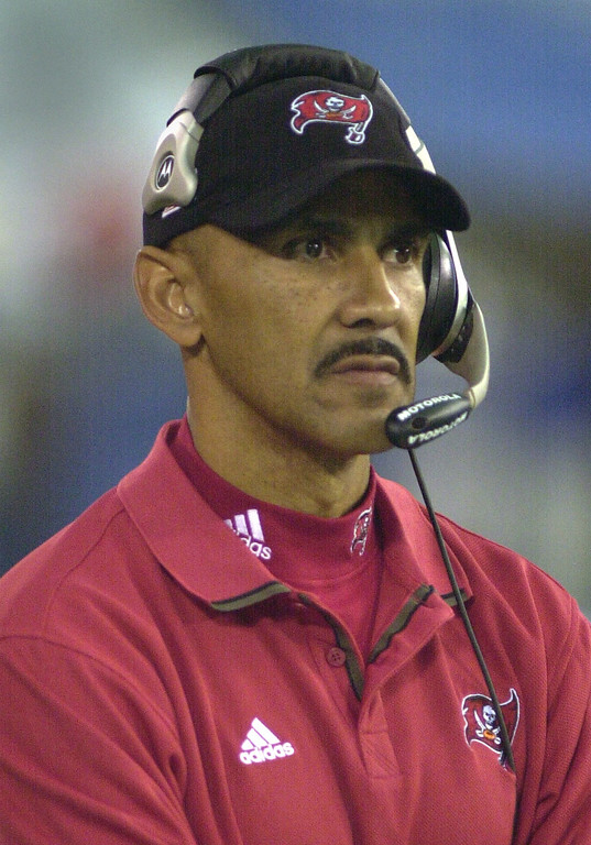 . Tampa Bay Buccaneers head coach Tony Dungy watches his team defeat the Detroit Lions 20-17 at the Pontiac Silverdome Sunday.