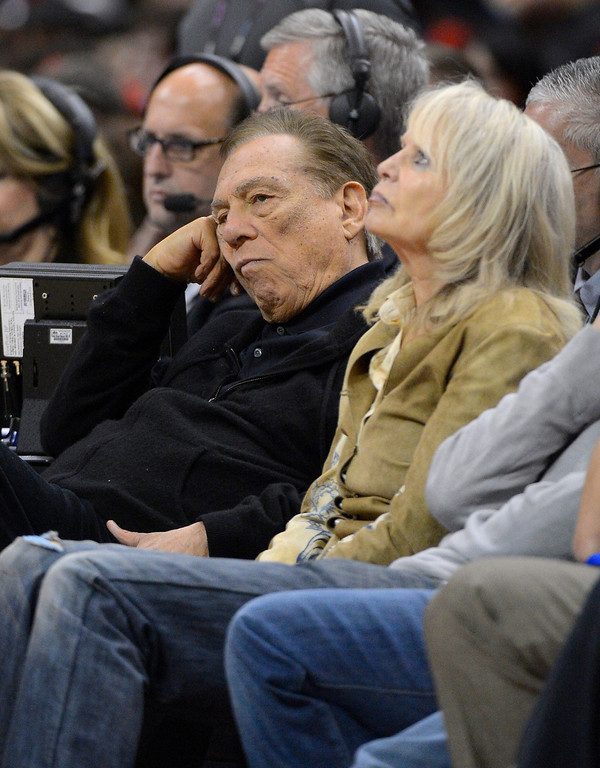 . Los Angeles Clippers owner Donald Sterling and his wife Rochelle look on during the second half in Game 3 of an NBA basketball playoffs Western Conference semifinal against the San Antonio Spurs, Saturday, May 19, 2012, in Los Angeles. The Spurs won 96-86. (AP Photo/Mark J. Terrill)