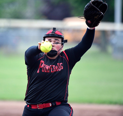 5/30/2019 Mike Orazzi | Staff Pomperaug's Ella McCasland (34) during the Class L Second Round softball game in Bristol Thursday.