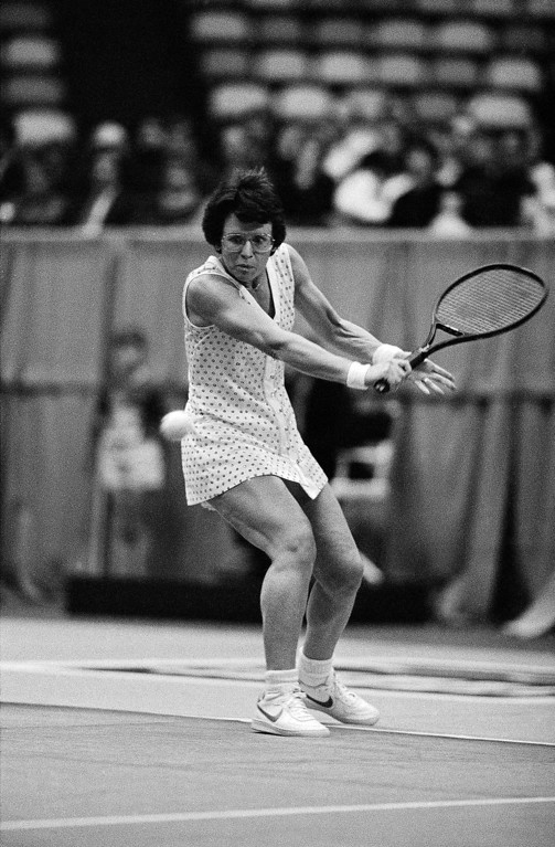 . Billie Jean King, from New York, eyes the ball during her match with Tracy Austin (not pictured) at the Central Trust Tennis Championships in Cincinnati on Friday, Jan. 22, 1983. King won in three sets to advance to Saturday night�s final against Hana Mandlikova. (AP Photo/David Kohl)