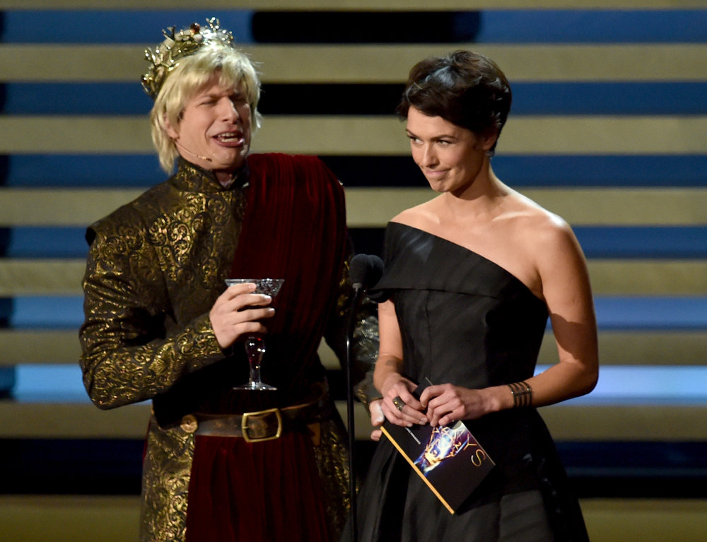 . Actors Andy Samberg (L) and Lena Headey speak onstage at the 66th Annual Primetime Emmy Awards held at Nokia Theatre L.A. Live on August 25, 2014 in Los Angeles, California.  (Photo by Kevin Winter/Getty Images)