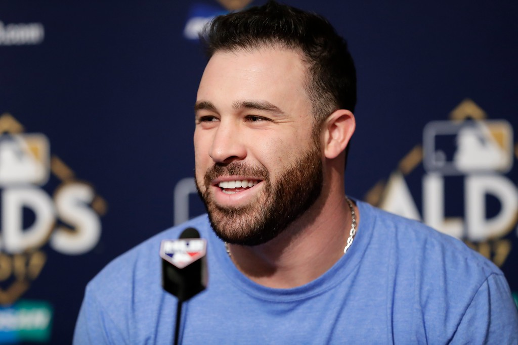 . Cleveland Indians second baseman Jason Kipnis speaks during a news conference before Game 4 of baseball\'s American League Division Series against the New York Yankees Monday, Oct. 9, 2017, in New York. (AP Photo/Frank Franklin II)