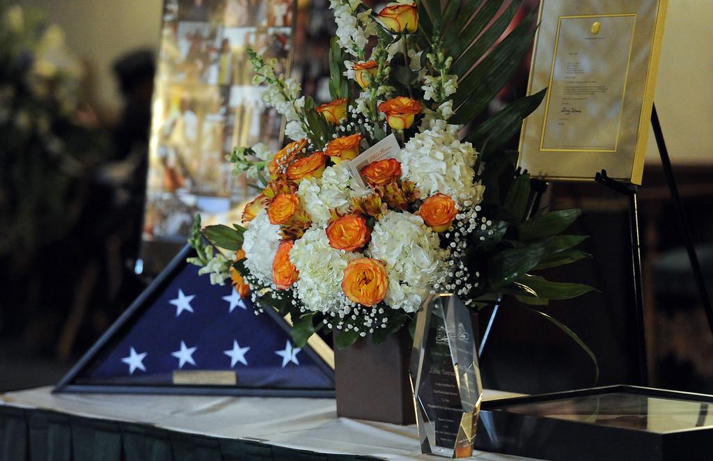 . A celebration of life service for former Pasadena Fire dept. Capt. and California State fire marshall, John Tennant at the Pasadena Civic Auditorium in Pasadena, Calif., on Wednesday, Feb. 5, 2014. (Keith Birmingham Pasadena Star-News)