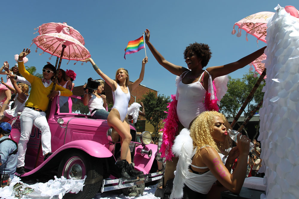 . Women ride a float at the 43rd L.A. Pride Parade on June 9, 2013 in West Hollywood, California. More than 400,000 people are expected to attend the parade in support of lesbian, gay, bisexual and transgender communities.  (Photo by David McNew/Getty Images)
