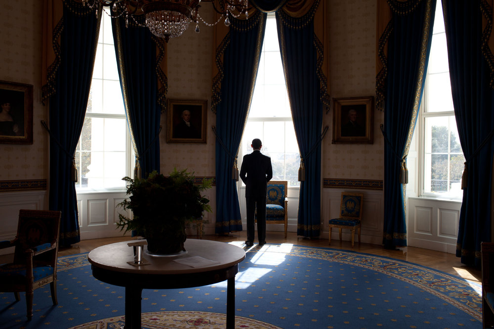 ". Nov. 3, 2010 ""The day after the mid-term election, the President waited in the Blue Room before facing the press at a news conference.\"" (Official White House Photo by Pete Souza)"