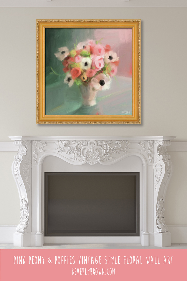Modern vintage floral print over the fireplace mantle by Beverly Brown.