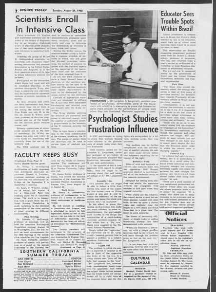 Summer Trojan, Vol. 12, No. 14, August 21, 1962