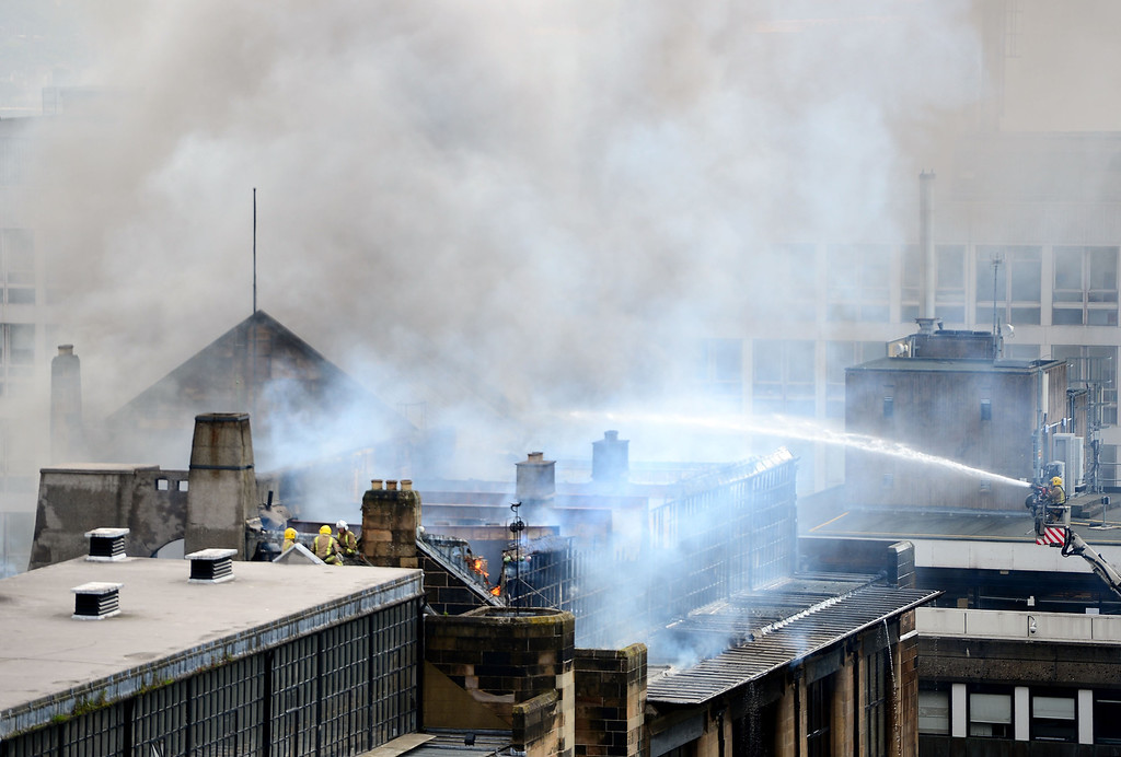. Fire crews tackle a fire at the Glasgow School of Art Charles Rennie Mackintosh Building on May 23, 2014 in Glasgow, Scotland.   (Photo by Jeff J Mitchell/Getty Images)