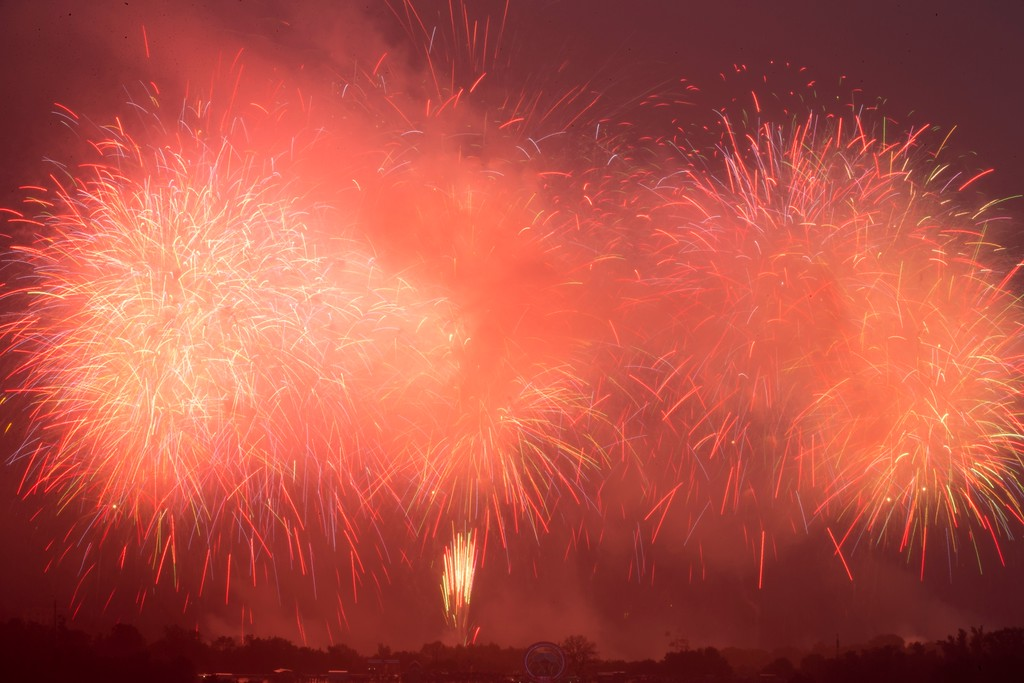. Fireworks explode near the Luzhniki stadium after the final match between France and Croatia at the 2018 soccer World Cup in Moscow, Russia, Sunday, July 15, 2018. France fans did justice to their team\'s 4-2 victory over Croatia in the World Cup final on Sunday, pouring into Paris\' Champs-Elysees Avenue by the tens of thousands to celebrate with cheers, stomping and song in an explosion of joy mimicked in cities around the nation. (AP Photo/Alexander Zemlianichenko)