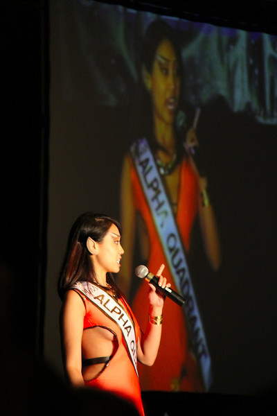 This Vulcan ended up taking 2nd place in the pageant.  She did a rap for her part of the talent competition.