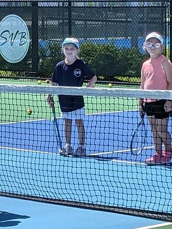 1-Ellie & Layla learn tennis