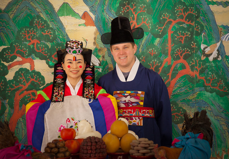 Traditional wedding attire (Hanbok) at the Korean Folk Village in Yongin, South Korea.