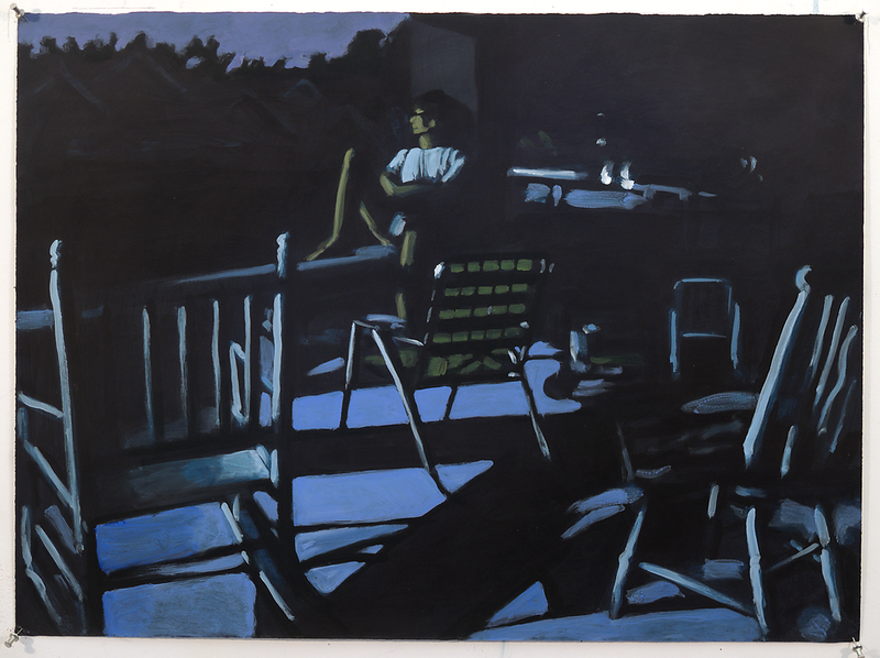 Night porch II; acrylic on paper, 22 x 30 in, 1990