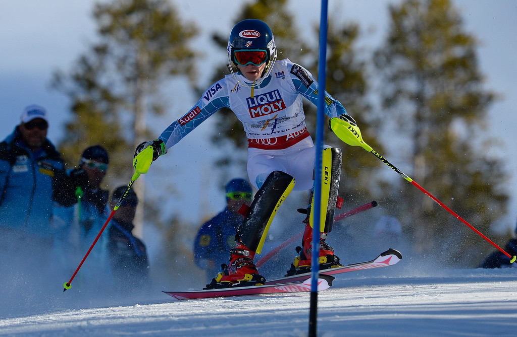. Mikaela Shiffrin of the United States races in the second run of the Ladies slalom at the FIS Alpine World Ski Championships in Beaver Creek, CO. February 14, 2015. Shiffrin came in first and took home the gold medal. (Photo By Helen H. Richardson/The Denver Post)