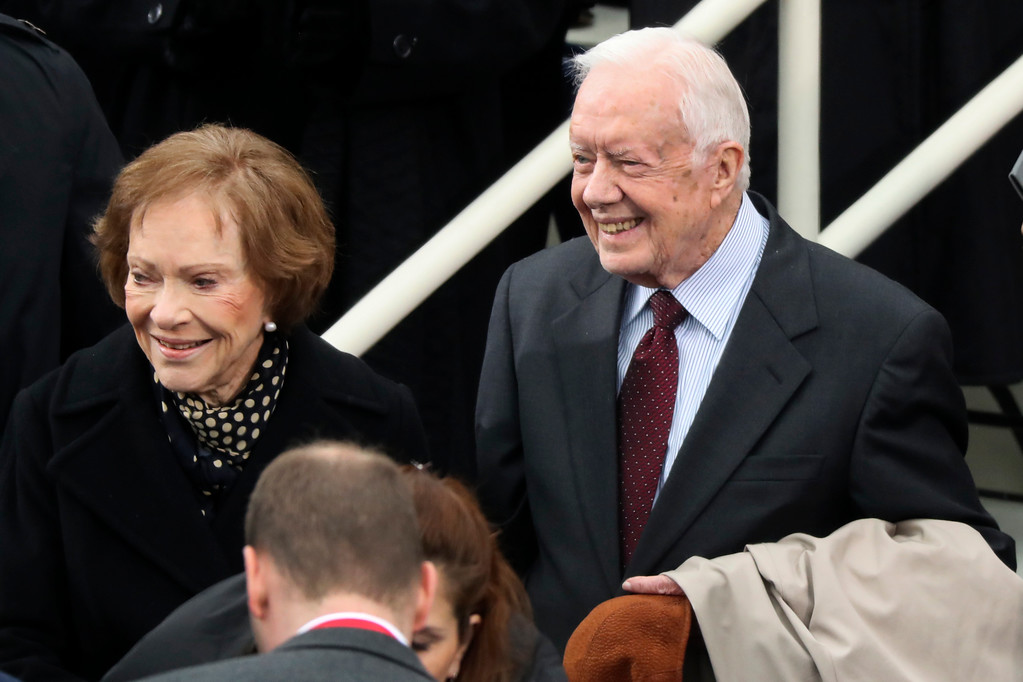 . Former president Jimmy Carter and Rosalynn Carter arrive during the 58th Presidential Inauguration at the U.S. Capitol in Washington, Friday, Jan. 20, 2017. (AP Photo/Andrew Harnik)