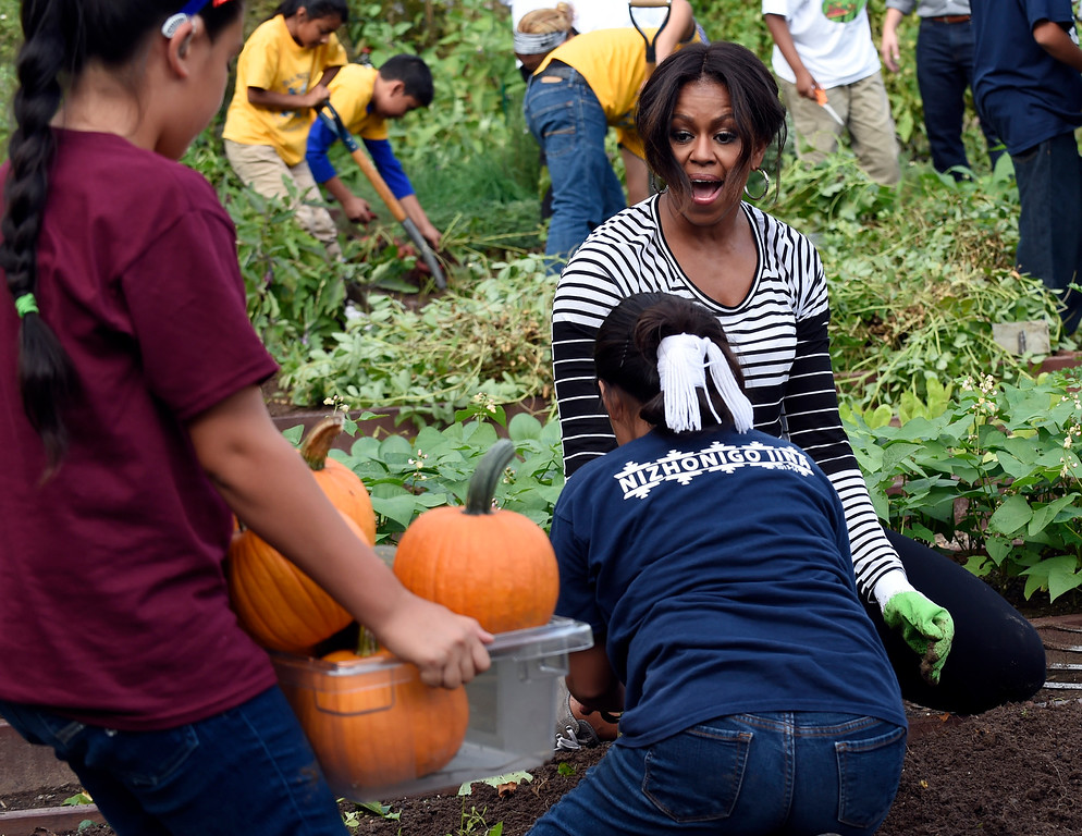 . First lady Michelle Obama reacts to a container of pumpkins that were harvested by school children in the annual fall harvest of the White House Kitchen Garden at the White House in Washington, Tuesday, Oct. 14, 2014. In celebration of Farm to School Month, Obama invited students from Arizona, California, and Ohio to participate in the fall harvest. These schools were selected because they are participating in farm to school programs that incorporate fresh, local food into their school meals, and they teach students about healthy eating through school gardens and nutrition education. (AP Photo/Susan Walsh)