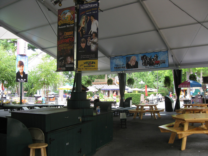 Inside the Midway Stage tent.
