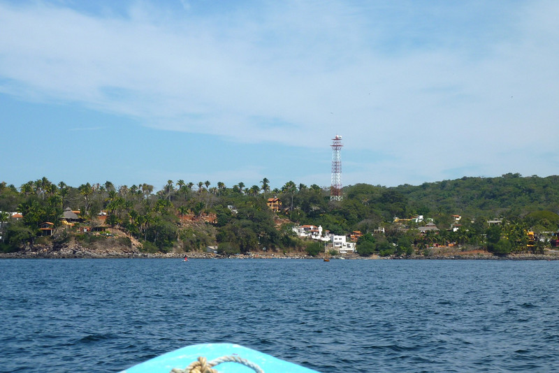 A view of the residential part of Chacala from the coast. Our house was between that tower and the coast, about a block from the beach.