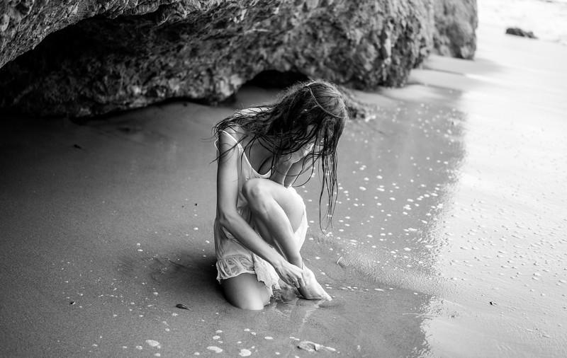 Artistic!  Beautiful Brunette Bikini Swimsuit Lingerie Model Sea Goddess on a Cloudy Day way up the Coast!