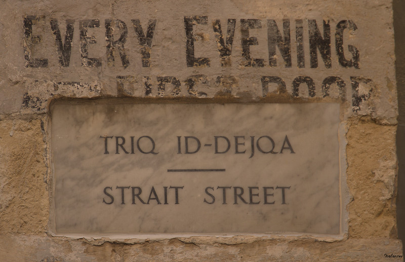 Valletta, Malta.   Street Name Sign   03/24/2019 This work is licensed under a Creative Commons Attribution- NonCommercial 4.0 International License