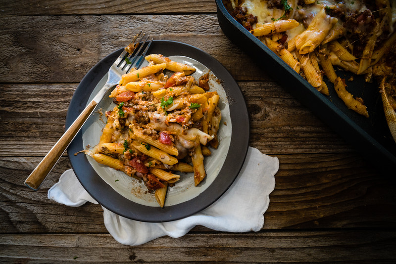 Baked penne with sausage and mushrooms