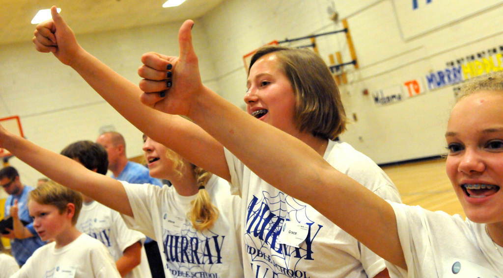 . Murray Middle School WEB leaders, from left, Allora Richardson, Grace Commers and Beth Fryxell vote their approval for their fellow students. (Pioneer Press: John Doman)