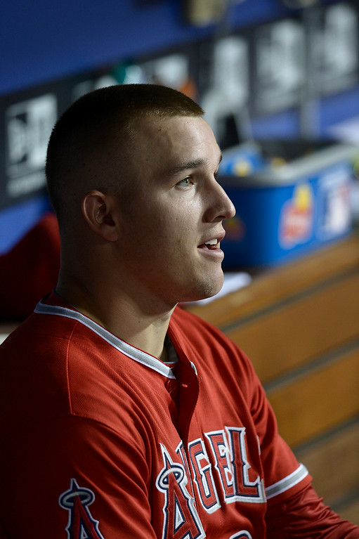 . Angels Mike Trout in the dugout. The Dodgers defeated the Angels 5-4. Los Angeles, CA. 8/5/2014(Photo by John McCoy Daily News)