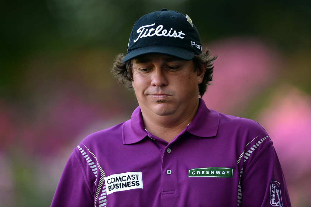 . AUGUSTA, GA - APRIL 13:  Jason Dufner of the United States reacts on the 13th green during the third round of the 2013 Masters Tournament at Augusta National Golf Club on April 13, 2013 in Augusta, Georgia.  (Photo by Harry How/Getty Images)