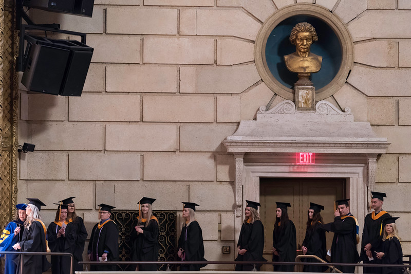 Graduates line up before crossing the stage to receive their diplomas. // University of Rochester School of Nursing Commencement, Kodak Hall at Eastman Theatre May 17, 2019.  // photo by J. Adam Fenster / University of Rochester