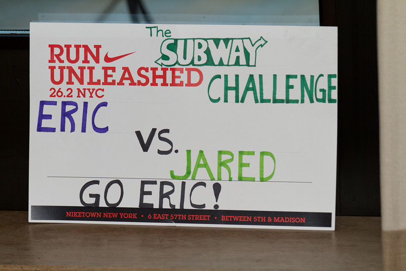 Subway Challenge was shown at Mile 12 - Eric did end up beating Jared!