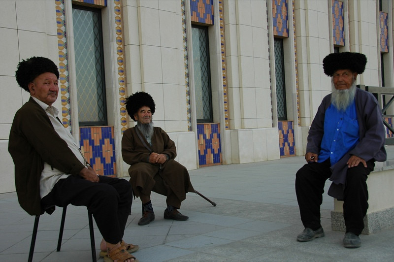 Elders Sitting at Saparmyrat Hajii Mosque - Geok-Depe, Turkmenistan