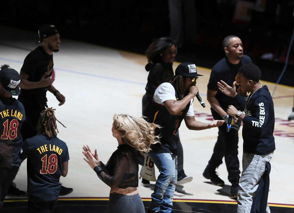 . Lil John and Ludacris perform during halftime of Game 4 of basketball\'s NBA Finals between the Cleveland Cavaliers and the Golden State Warriors, Friday, June 8, 2018, in Cleveland. (AP Photo/Carlos Osorio)