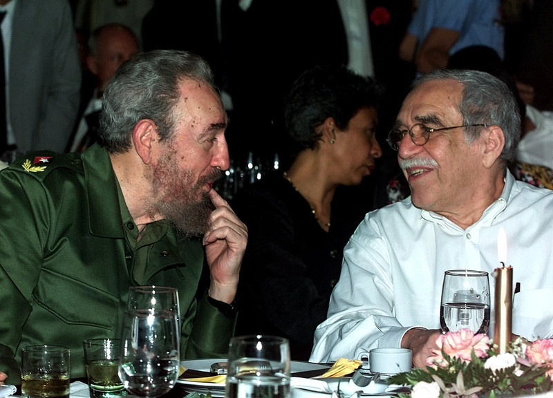 . In this March 3, 2000 file photo, Cuba\'s leader Fidel Castro, left, and Colombian Nobel laureate Gabriel Garcia Marquez speak during a dinner at the annual cigar festival in Havana, Cuba. Marquez died on Thursday, April 17, 2014 at his home in Mexico City. (AP Photo/Jose Goitia, File)