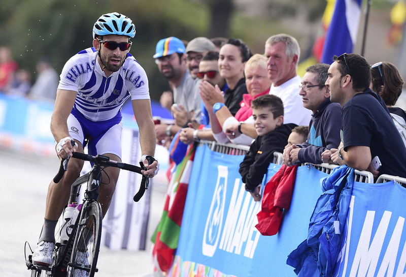 . Greece\'s Georgios Bouglas competes in the men\'s road race at the 2014 UCI Road World Championships in Ponferrada on September 28, 2014.  JAVIER SORIANO/AFP/Getty Images