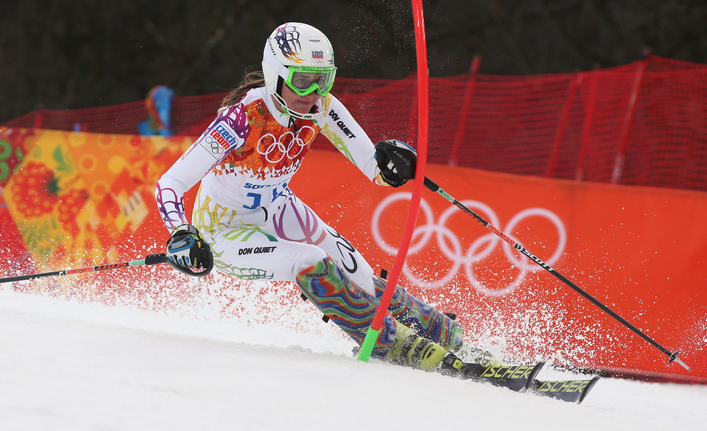 . Czech Republic\'s Sarka Strachova skis past a gate in the first run of the women\'s slalom at the Sochi 2014 Winter Olympics, Friday, Feb. 21, 2014, in Krasnaya Polyana, Russia. (AP Photo/Luca Bruno)