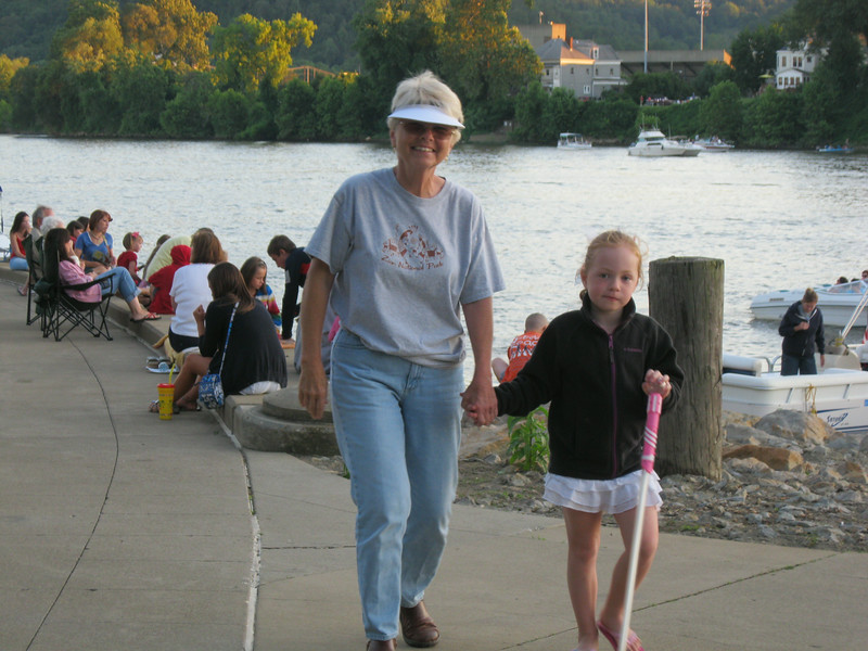 Kay and Sophie walking the River Walk.