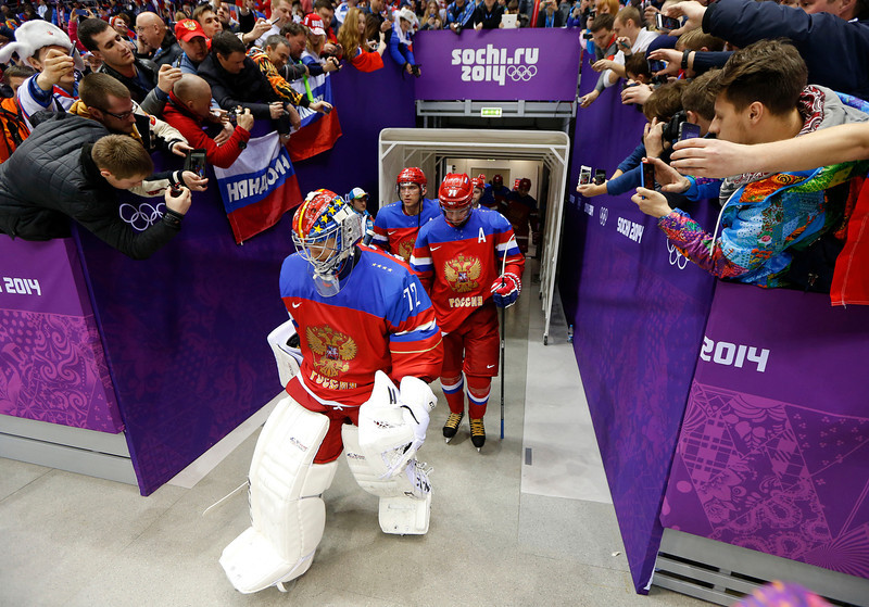 . Team Russia heads back onto the ice for the third period of a men\'s ice hockey game against Norway at the 2014 Winter Olympics, Tuesday, Feb. 18, 2014, in Sochi, Russia. (AP Photo/Mark Humphrey)