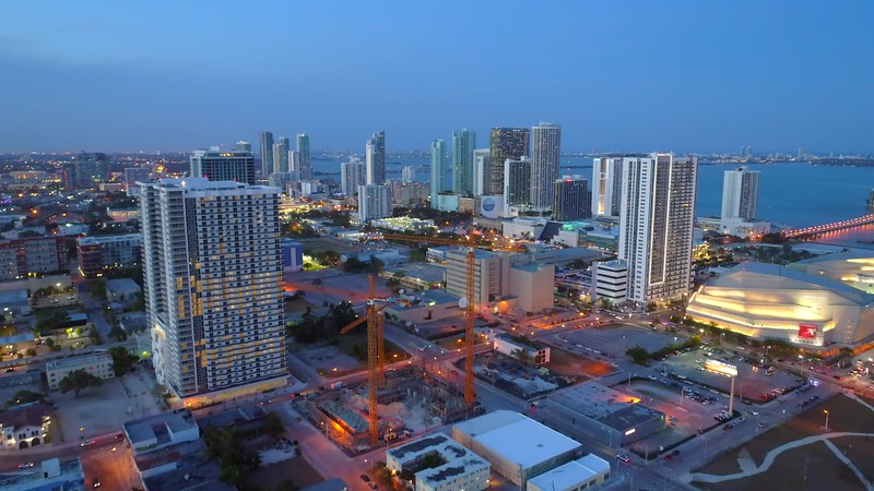 Miami Downtown Edgewater highrise architecture skyscrapers night footage aerial