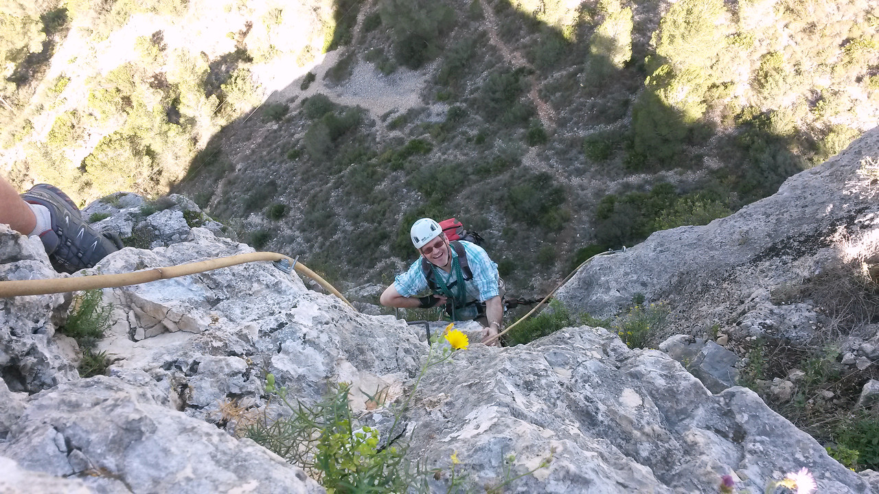 Nearing the top of the L'Aventador Via Ferrata