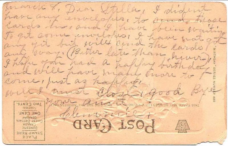 Birthday postcard from Stella's namesake Aunt Clemmie, (back)