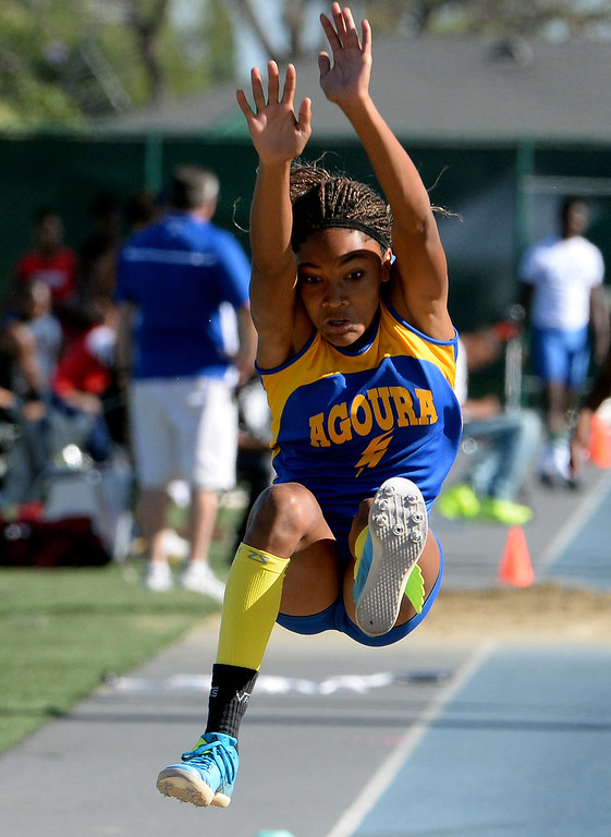 . Agoura\'s Tara Davis competes in the long jump during the CIF-SS Masters Track and Field meet at Falcon Field on the campus of Cerritos College in Norwalk, Calif., on Friday, May 30, 2014.   (Keith Birmingham/Pasadena Star-News)