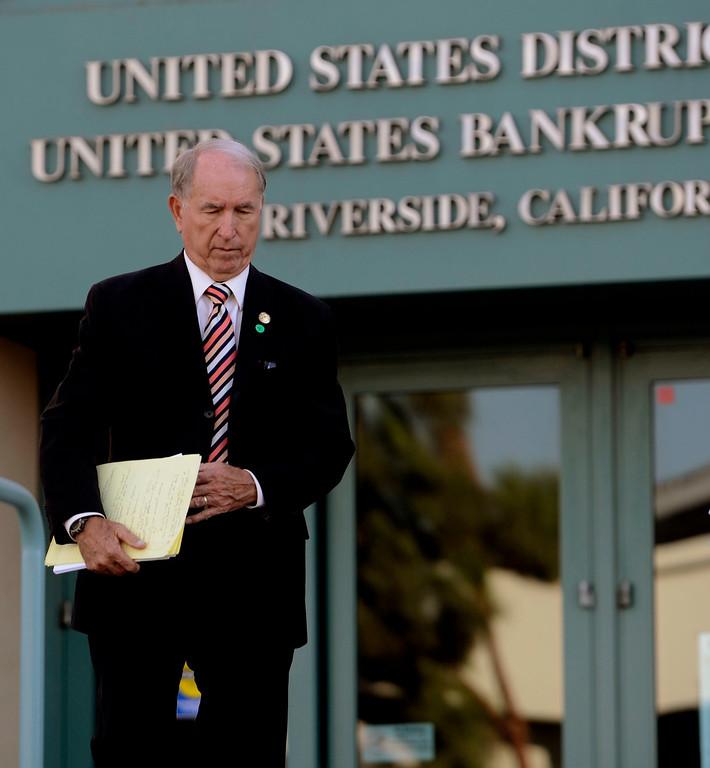 . San Bernardino mayor Patrick Morris leaves the United States Bankruptcy court in Riverside August 28. 2013.    GABRIEL LUIS ACOSTA/STAFF PHOTOGRAPHER.