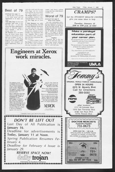 Daily Trojan, Vol. 87, No. 66, January 11, 1980